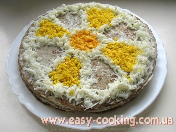 рецепт як зробити торт з печінки?